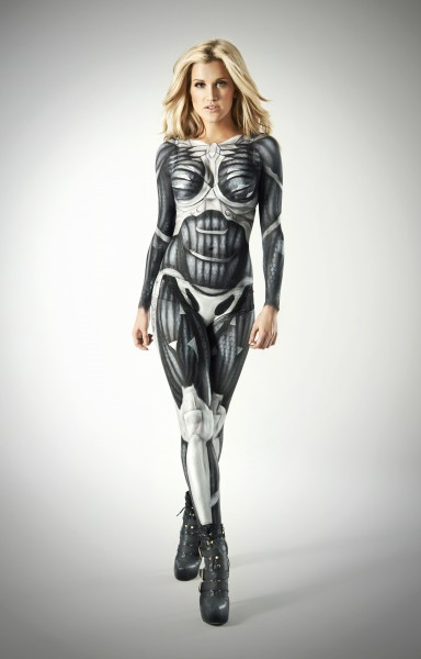 Ashley Roberts suits up in full bodypaint to become lead charact