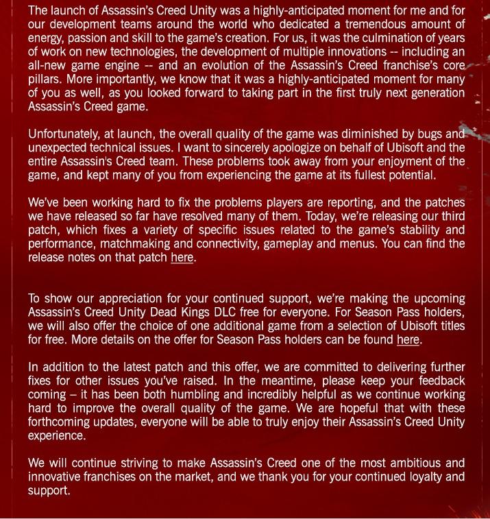 assassin's creed unity apology
